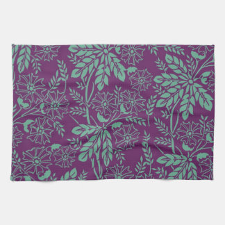 Gorgeous Teal and Purple Floral Kitchen Towels