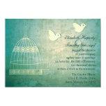 "Gorgeous Teal Birdcage Wedding Invitation 5"" X 7"" Invitation Card"
