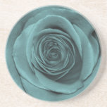 Gorgeous Teal Colored Rose Beverage Coaster