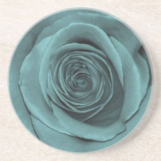 Gorgeous Teal Colored Rose Drink Coaster