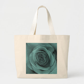 Gorgeous Teal Colored Rose Large Tote Bag