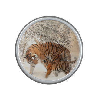 Gorgeous tiger and cub in snow speaker