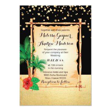 Beach Themed Gorgeous Tropical Beach Palms Black Gold Wedding Card
