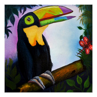 Gorgeous Tropical Toucan fantasy oil painting canv Posters