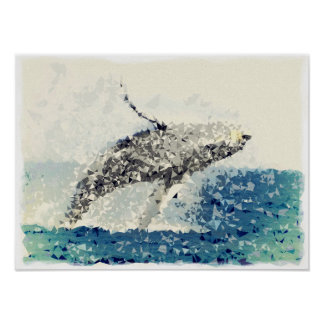 Gorgeous Turn! Humpback Whale Flying to The Sky! Poster