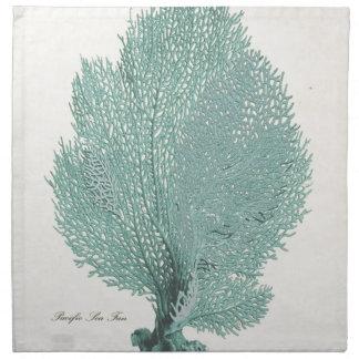Gorgeous Turquoise/Aqua Pacific Sea Fan Printed Napkin