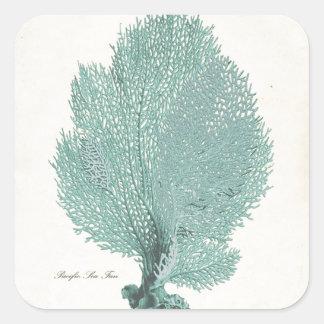 Gorgeous Turquoise/Aqua Pacific Sea Fan Square Stickers