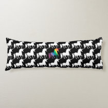 Gorgeous Unicorn Rainbow Black & White Pattern Body Pillow