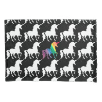 Gorgeous Unicorn Rainbow Black & White Pattern Pillow Case