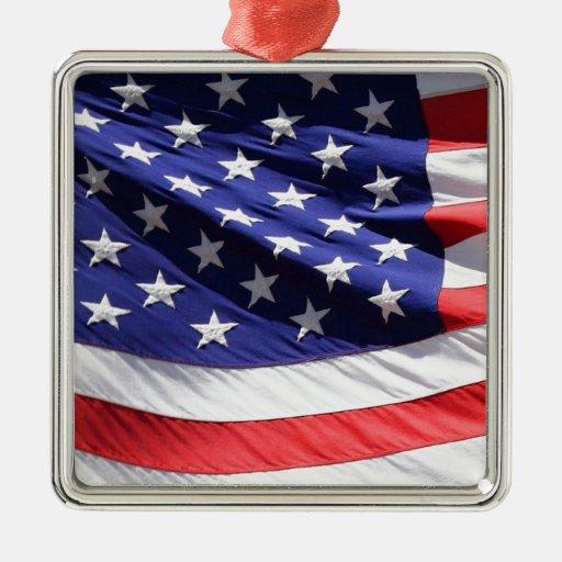 GORGEOUS USA FLAG SQUARE METAL CHRISTMAS ORNAMENT