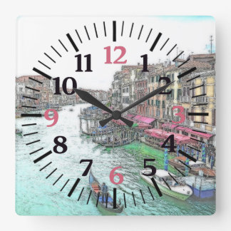Gorgeous Venice Italy with Pink Numerals Square Wall Clock