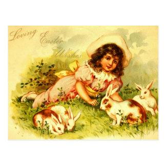 Gorgeous Victorian Girl Easter Bunnies PostCard