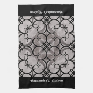 Gorgeous victorian gothic pattern gray and black hand towels