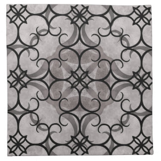 Gorgeous victorian gothic pattern gray and black napkin