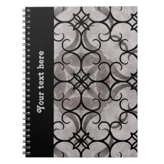 Gorgeous victorian gothic pattern gray and black spiral notebook