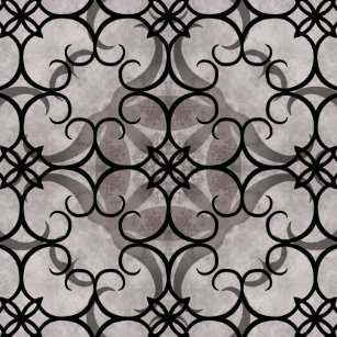 Gorgeous Victorian Gothic Pattern Gray And Black Tile