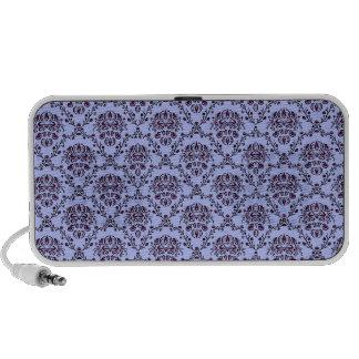 Gorgeous vintage Art Nouveau floral blue pattern Mp3 Speakers