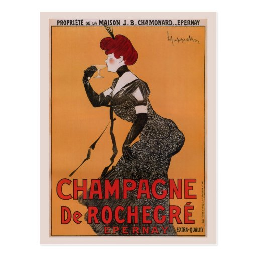Gorgeous vintage art nouveau French champagne ad Post Cards