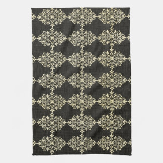 Gorgeous Vintage Black and Cream Floral, Damask Kitchen Towels