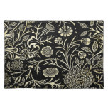 Gorgeous Vintage Black and Cream Floral, Damask Cloth Placemat
