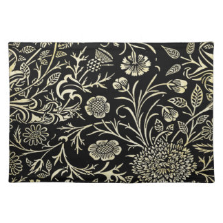 Gorgeous Vintage Black and Cream Floral, Damask Placemat