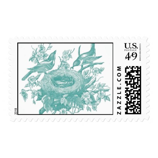 Gorgeous Vintage Brids and Florals Print Postage Stamp