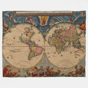 World map fleece blankets zazzle gorgeous vintage old world map fleece blanket gumiabroncs Images