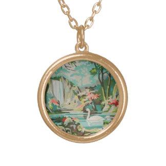 Gorgeous Vintage PBN Scenic Pastel Swans Necklace