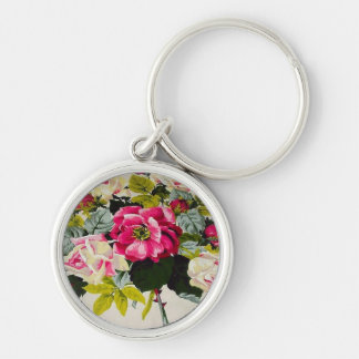 Gorgeous Vintage Pink Roses Floral Keychain