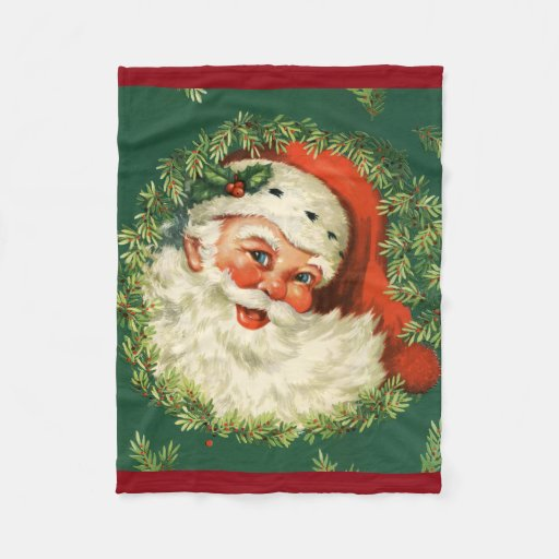 Vintage Santa Claus Fleece Blanket