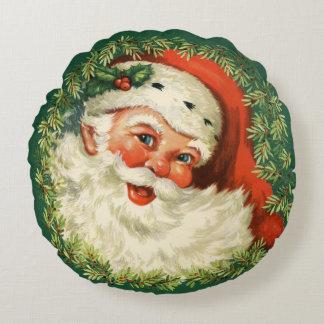 Gorgeous Vintage Santa Claus Image Round Pillow