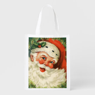 Gorgeous Vintage Santa Claus Image Reusable Grocery Bag
