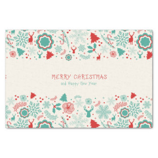 "Gorgeous Vintage style Merry Christmas greeting 10"" X 15"" Tissue Paper"