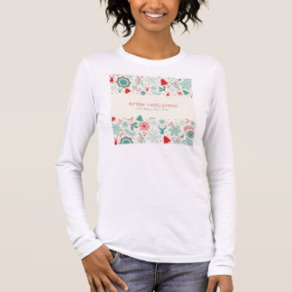 Gorgeous Vintage style Merry Christmas greeting Long Sleeve T-Shirt