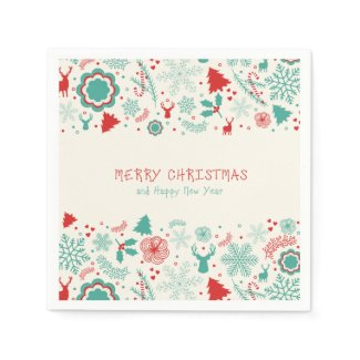 Gorgeous Vintage style Merry Christmas greeting Disposable Napkin