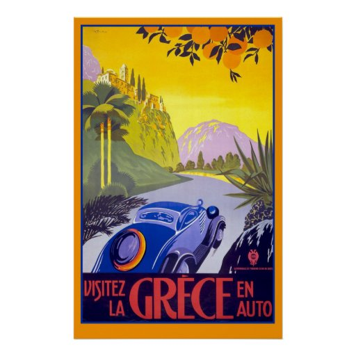 Gorgeous Vintage Travel Poster of Greece