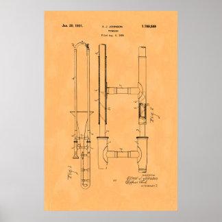 Gorgeous Vintage Trombone Patent Poster