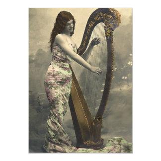 Gorgeous Vintage Woman Harpist  Invitations