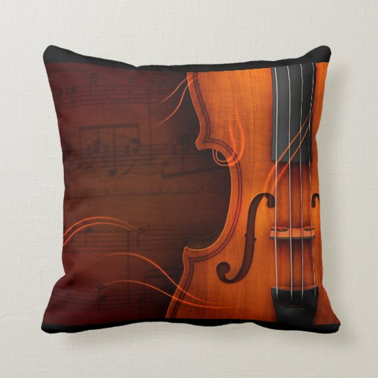 Gorgeous Violin & Sheet Music Throw Pillow