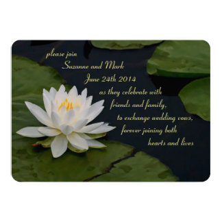 Gorgeous Water Lily Green White Glowing Wedding 5x7 Paper Invitation Card