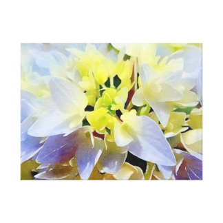 Gorgeous Watercolor Hydrangea Yellow, Lilac, Blue Canvas Print