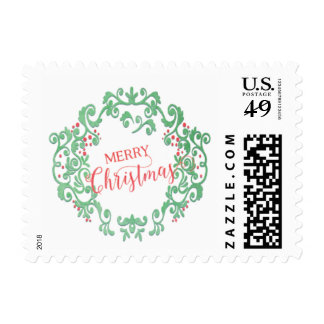 Gorgeous Watercolor Merry Christmas Wreath Postage