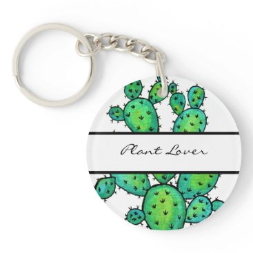 Art Themed Gorgeous Watercolor Prickly Cactus Keychain