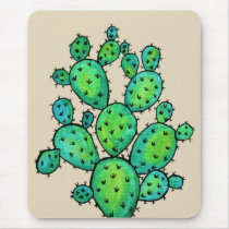 Gorgeous Watercolor Prickly Cactus Mouse Pad