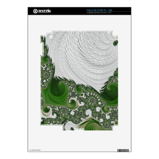 Gorgeous White and Green Fractal Twists Skins For The iPad 2