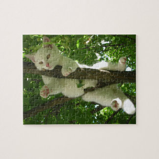 Gorgeous White Cat Hanging Out in Tree Jigsaw Puzzle