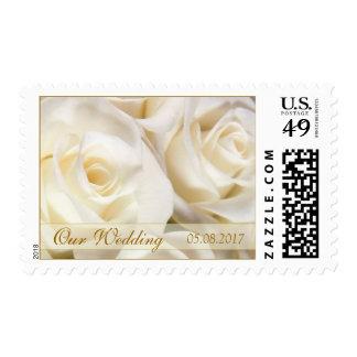 Gorgeous white cream roses Wedding Postage stamp