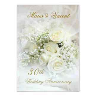 Gorgeous white roses 30th Wedding Anniversary Card