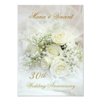 Gorgeous white roses 30th Wedding Anniversary Invitation