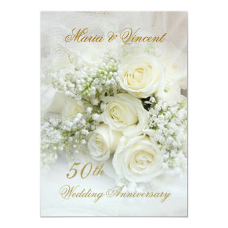 Gorgeous white roses 50th Wedding Anniversary 5x7 Paper Invitation Card
